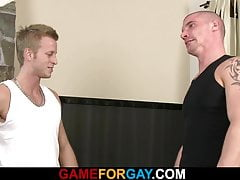 Hunky bald coach involved into gay game