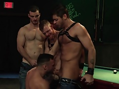 4 Raging Stallion Hunks Suck Dick at the Leather Bar!