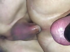 Sissy in chastity takes thick mature cock And leaks