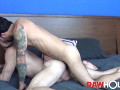 'RAWHOLE Inked Stud Nick Hole Gives Head Before Bareback Fuck'