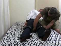 Office hunk strapped down for tickling|38::HD,63::Gay,1921::Bondage,1991::Feet,2001::Fetish,2081::Muscular