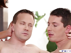 Doggystyled bisexual hunk jizzed in mmf trio