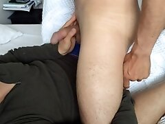 'Got caught making my next video! Daddy joins in showing his thick cock and hairy legs + hard cumshot'