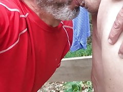 Quick oral on a guy in the park.