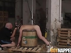 Young homo is dominated and restrained by his old master