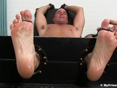 Hunk barely endured while being tickled and tied up good
