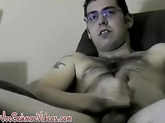 'Inked amateur gay Brad jerks off before big cum explosion'