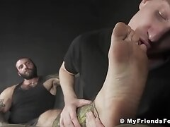 'Inked hunk toe licking foot job masturbation with kinky jock'