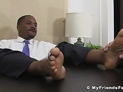 White dude needs a job so he licks black feet to get it here