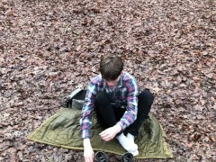 'Camping with Daddy Outdoor /Daddy Filmed Me & CUM AS VULCANO / Cute boy'