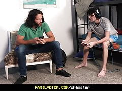 FamilyDick - Muscle daddy raw fucks his stepson and friend