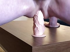 Huge Anal dildo ride And cum
