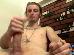 Cute and big dicked Kenneth Slayer masturbating alone
