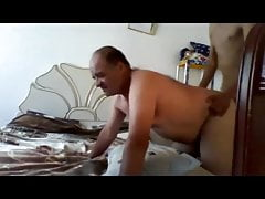 Boy fucks older chubby daddy in bed