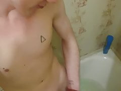 Wank in bathroom cock
